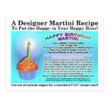 Happy Birthday Martini Recipe Card Postcard