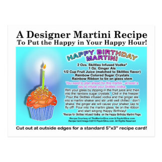 Happy Birthday Martini Recipe Card Postcard