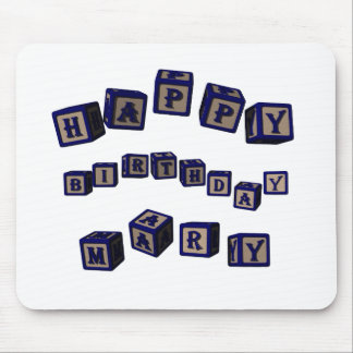 Happy Birthday Mary toy blocks in blue. Mouse Pad
