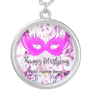 Happy Birthday Mask Round Pendant Necklace
