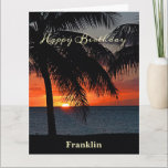 """Happy Birthday Men Sunset Ocean Tropical Trees Card<br><div class=""""desc"""">Happy Birthday Men Sunset Tropical Ocean Card has a brilliant orange glow sunset on the serene ocean. Replace information with yours and give to that special person in your life. Photograph by Denise Bennerson,  photographer</div>"""