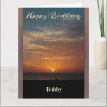 """Happy Birthday Men Sunset Tropical Personalize Card<br><div class=""""desc"""">This is a beautiful sunset for Happy Birthday Men Personalize Greeting Card for that special man in your life. It has an oil paint effect. Personalize it for anyone. Denise Bennerson,  photographer</div>"""