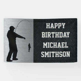 Happy Birthday Men's Fishing Banner