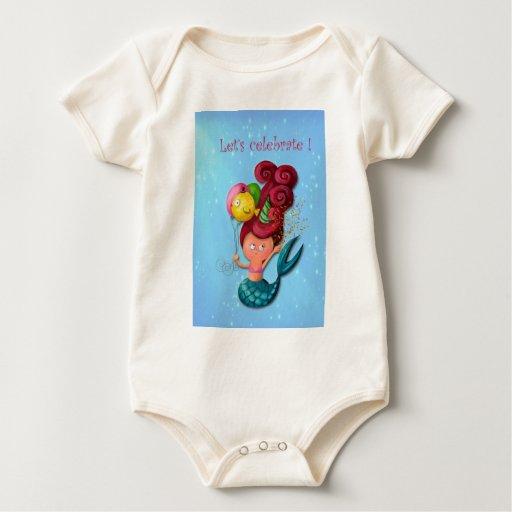 Happy Birthday Mermaid Baby Bodysuits