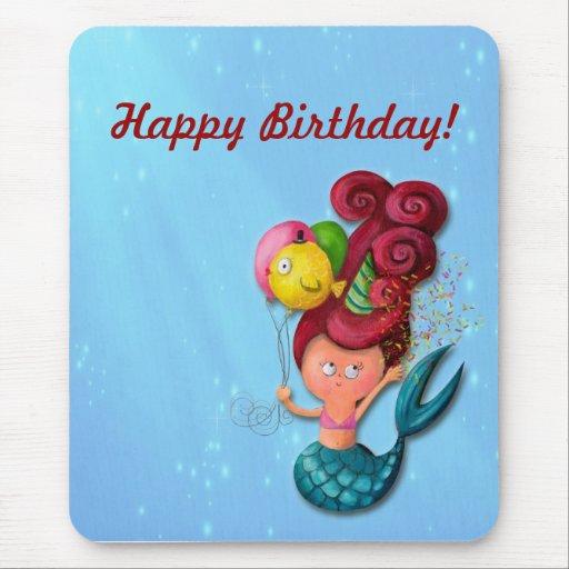 Happy Birthday Mermaid Mouse Pad | Zazzle