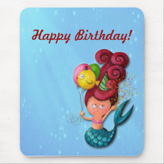 Happy Birthday Mermaid Mouse Pad