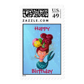 Happy Birthday Mermaid Stamps