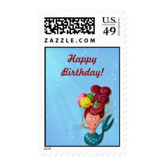 Happy Birthday Mermaid Postage Stamps