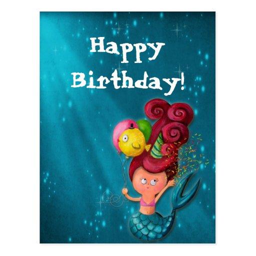 Happy Birthday Mermaid Postcard