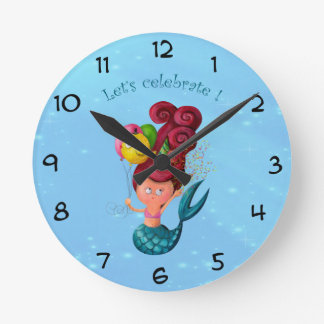 Happy Birthday Mermaid Round Clock