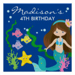 Happy Birthday Mermaid | Under The Sea Poster