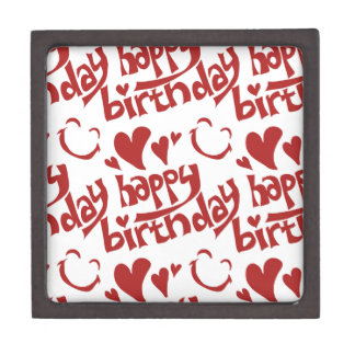 happy birthday message with heart smiling face gift box