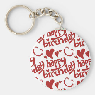 happy birthday message with heart smiling face keychain