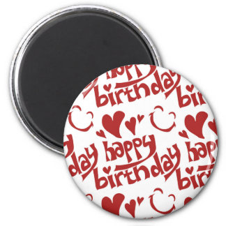 happy birthday message with heart smiling face magnet