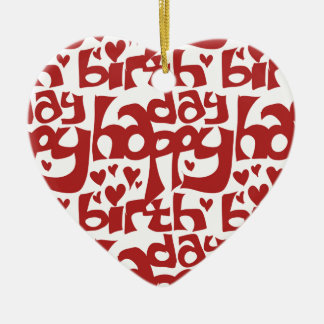 happy birthday message with hearth ceramic ornament