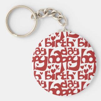 happy birthday message with hearth keychain
