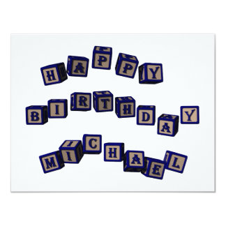 Happy Birthday Michael toy blocks in blue Card
