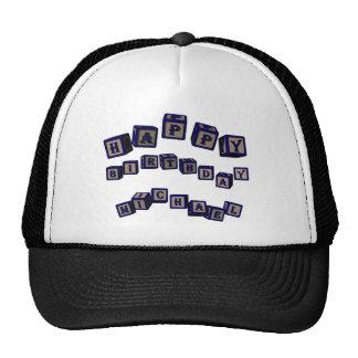 Happy Birthday Michael toy blocks in blue Hats