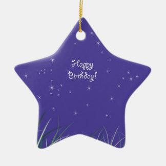 Happy birthday Midnight Moon Fantasy Ceramic Ornament