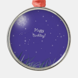 Happy birthday Midnight Moon Fantasy Metal Ornament