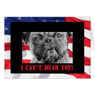 Happy Birthday Military Soldier U.S. Flag and Pug Greeting Card
