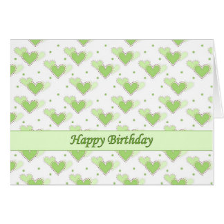 Happy Birthday Mint Green Hearts Card