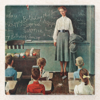 Happy Birthday, Miss Jones by Norman Rockwell Glass Coaster