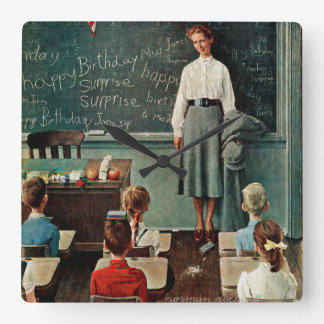 Happy Birthday, Miss Jones by Norman Rockwell Square Wall Clock