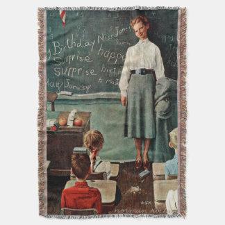 Happy Birthday, Miss Jones by Norman Rockwell Throw