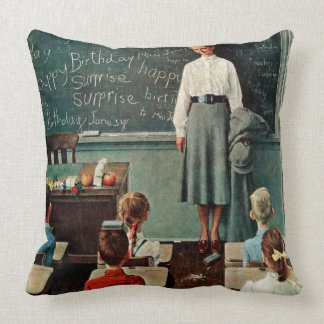 Happy Birthday, Miss Jones by Norman Rockwell Throw Pillow