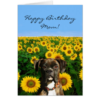 Happy Birthday Mom Boxer greeting card