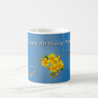 Happy Birthday Mom Butterfly Floral Coffee Mug