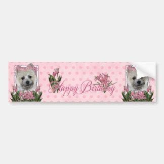Happy Birthday Mom - Cairn - Light - Teddy Bear Bumper Sticker
