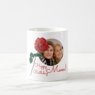 Happy Birthday Mom Floral text custom photo mugs