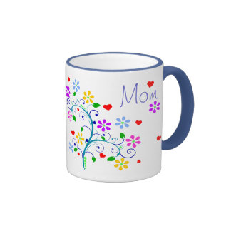 Happy Birthday Mom Flower Cup With We *Heart* You Ringer Coffee Mug