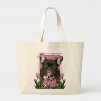 Happy Birthday Mom - French Bulldog - Teal Tote Bag