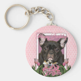 Happy Birthday Mom - French Bulldog - Teal Keychain
