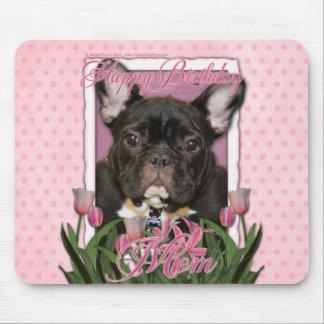 Happy Birthday Mom - French Bulldog - Teal Mouse Pad