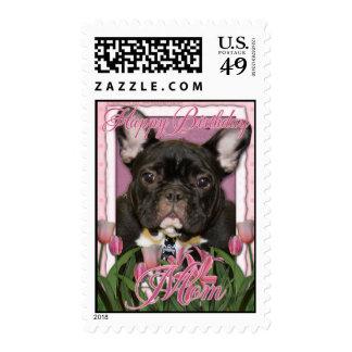 Happy Birthday Mom - French Bulldog - Teal Stamps
