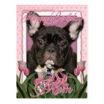 Happy Birthday Mom - French Bulldog - Teal Postcard