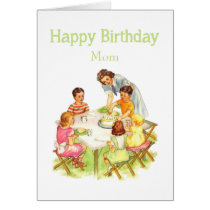 Happy Birthday Mom Fun Vintage Picnic Party Card