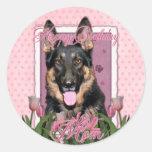 Happy Birthday Mom - German Shepherd - Kuno Round Stickers