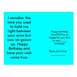 Happy birthday mom!!!!!!!im so happy for you th... postcard