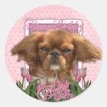 Happy Birthday Mom - King Charles Cavalier - Ruby Round Stickers