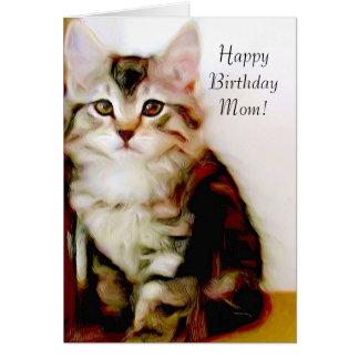 Happy Birthday Mom Kitten greeting card