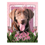 Happy Birthday Mom - Labrador - Chocolate Postcard
