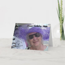 Happy Birthday Mom, lady in purple hat Card