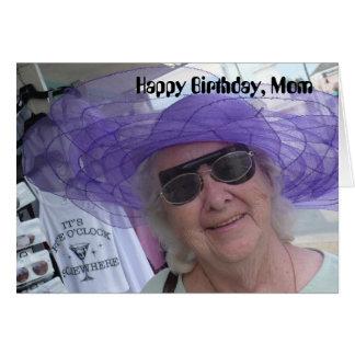 Happy Birthday Mom, lady in purple hat Card