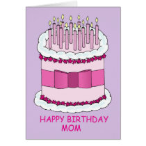 Happy Birthday Mom, Large Cake. Card