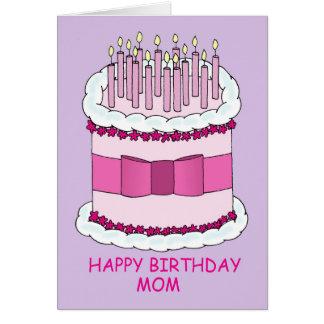 Happy Birthday Mom, Large Cake. Card